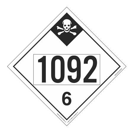 UN#1092 Inhalation Hazard Stock Numbered Placard