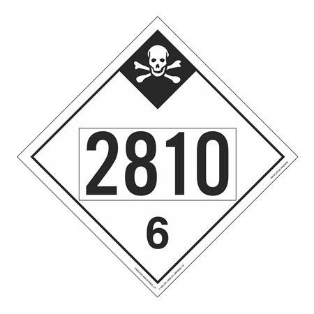 UN#2810 Inhallation Hazard Stock Numbered Placard