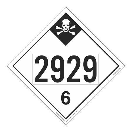 UN#2929 Inhalation Hazard Stock Numbered Placard