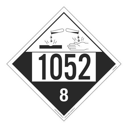 UN#1052 Corrosive Stock Numbered Placard