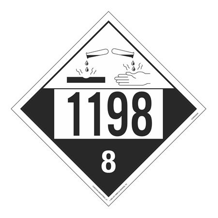 UN#1198 Corrosive Stock Numbered Placard
