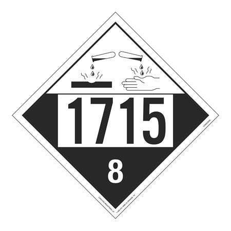 UN#1715 Corrosive Stock Numbered Placard