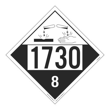 UN#1730 Corrosive Stock Numbered Placard