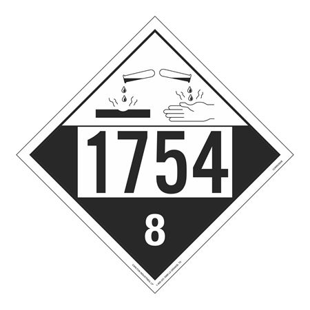 UN#1754 Corrosive Stock Numbered Placard