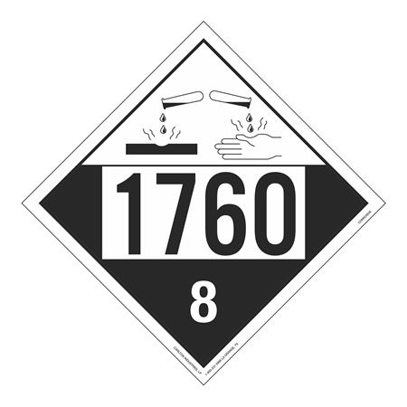 UN#1760 Corrosive Stock Numbered Placard