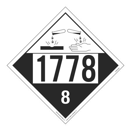 UN#1778 Corrosive Stock Numbered Placard
