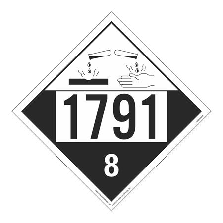 UN#1791 Corrosive Stock Numbered Placard