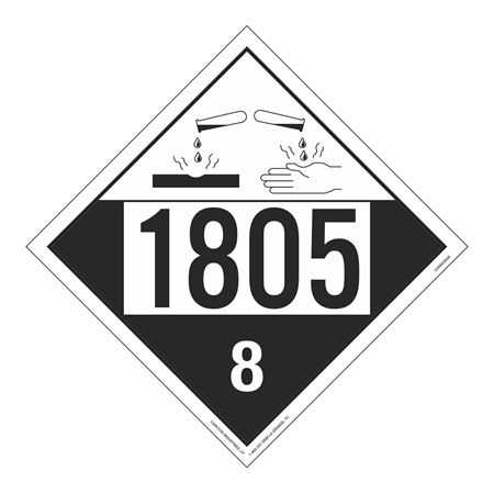 UN#1805 Corrosive Stock Numbered Placard