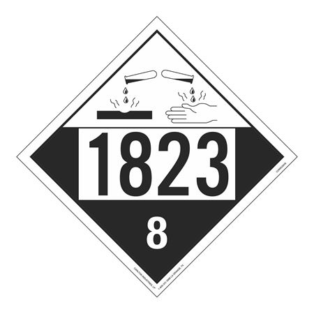 UN#1823 Corrosive Stock Numbered Placard