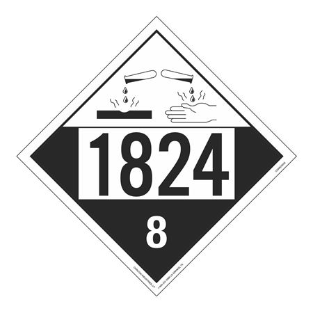 UN#1824 Corrosive Stock Numbered Placard