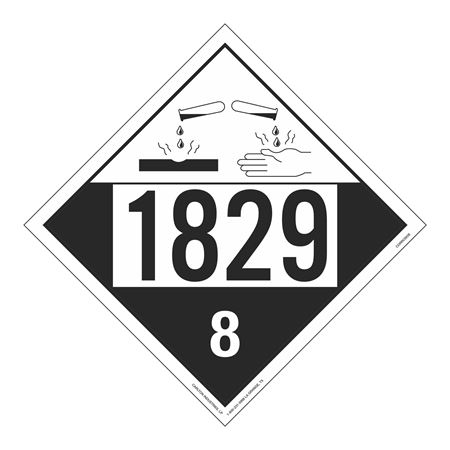 UN#1829 Corrosive Stock Numbered Placard
