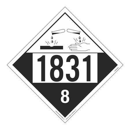 UN#1831 Corrosive Stock Numbered Placard