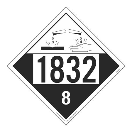 UN#1832 Corrosive Stock Numbered Placard