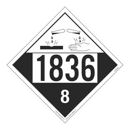 UN#1836 Corrosive Stock Numbered Placard