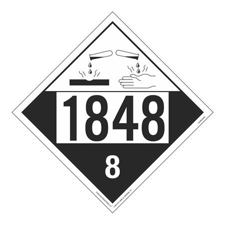 UN#1848 Corrosive Stock Numbered Placard