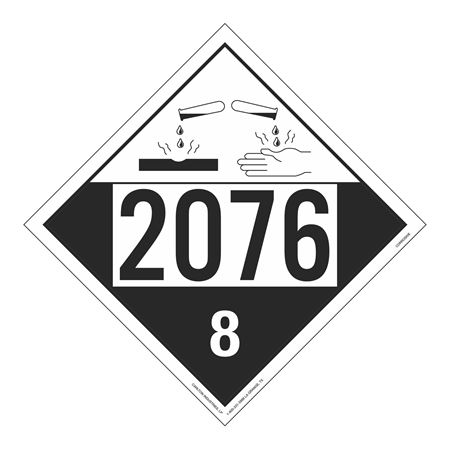 UN#2076 Corrosive Stock Numbered Placard