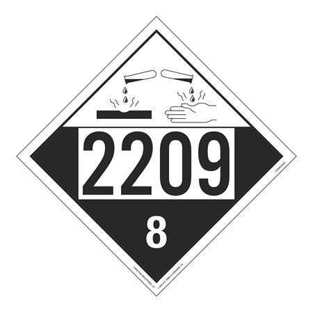 UN#2209 Corrosive Stock Numbered Placard