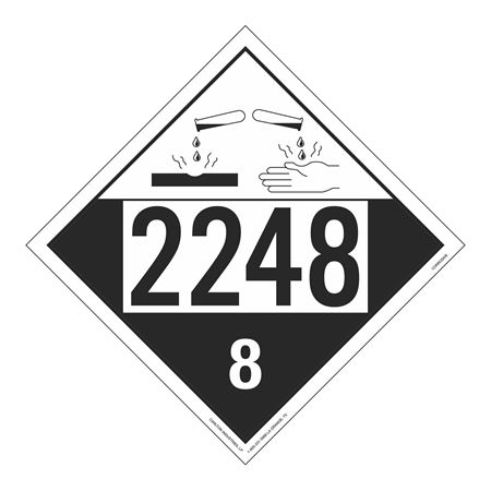 UN#2248 Corrosive Stock Numbered Placard