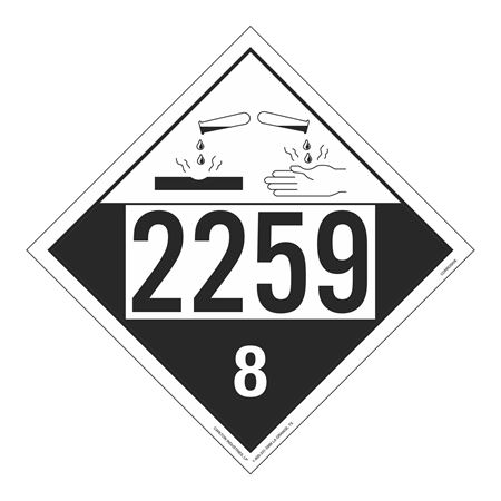UN#2259 Corrosive Stock Numbered Placard