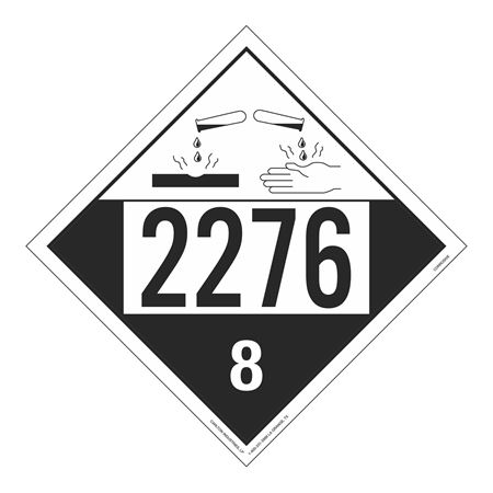 UN#2276 Corrosive Stock Numbered Placard
