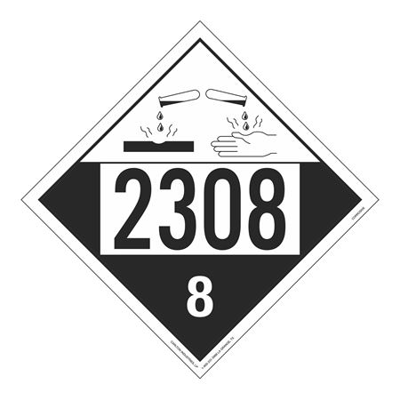 UN#2308 Corrosive Stock Numbered Placard