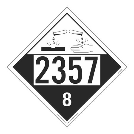 UN#2357 Corrosive Stock Numbered Placard