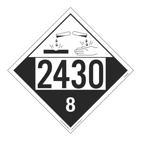 UN#2430 Corrosive Stock Numbered Placard
