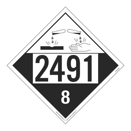 UN#2491 Corrosive Stock Numbered Placard
