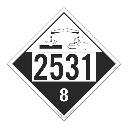 UN#2531 Corrosive Stock Numbered Placard