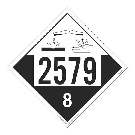 UN#2579 Corrosive Stock Numbered Placard