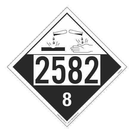UN#2582 Corrosive Stock Numbered Placard