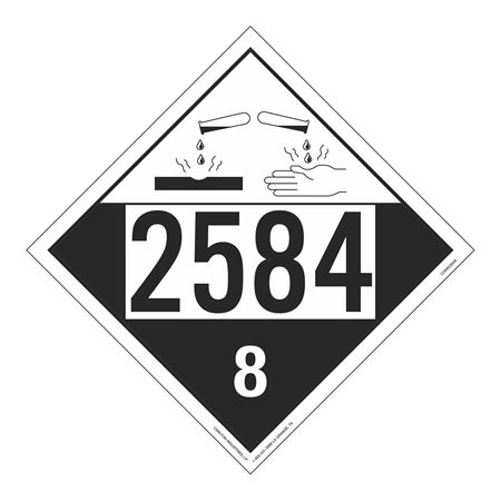 UN#2584 Corrosive Stock Numbered Placard