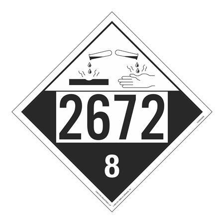 UN#2672 Corrosive Stock Numbered Placard