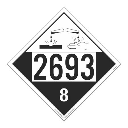 UN#2693 Corrosive Stock Numbered Placard