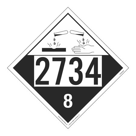 UN#2734 Corrosive Stock Numbered Placard