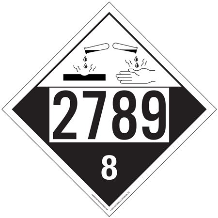 UN#2789 Corrosive Stock Numbered Placard