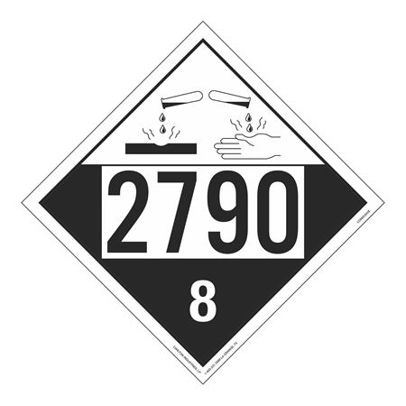 UN#2790 Corrosive Stock Numbered Placard