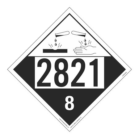 UN#2821 Corrosive Stock Numbered Placard
