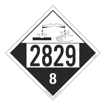UN#2829 Corrosive Stock Numbered Placard