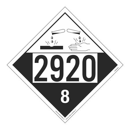 UN#2920 Corrosive Stock Numbered Placard