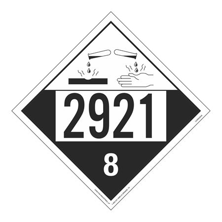 UN#2921 Corrosive Stock Numbered Placard