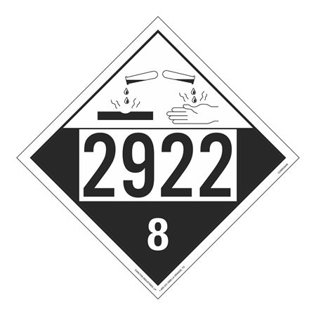 UN#2922 Corrosive Stock Numbered Placard