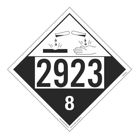 UN#2923 Corrosive Stock Numbered Placard