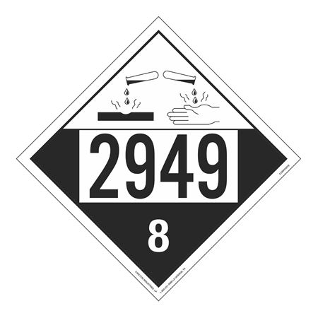 UN#2949 Corrosive Stock Numbered Placard