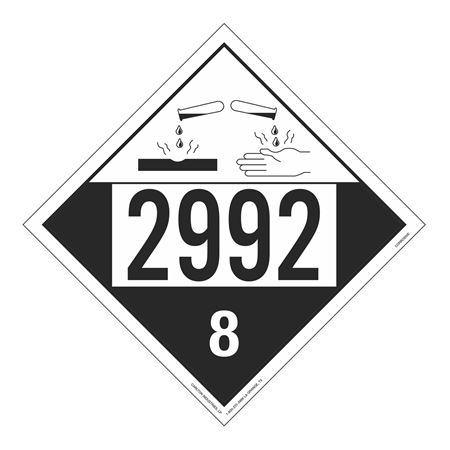UN#2992 Corrosive Stock Numbered Placard