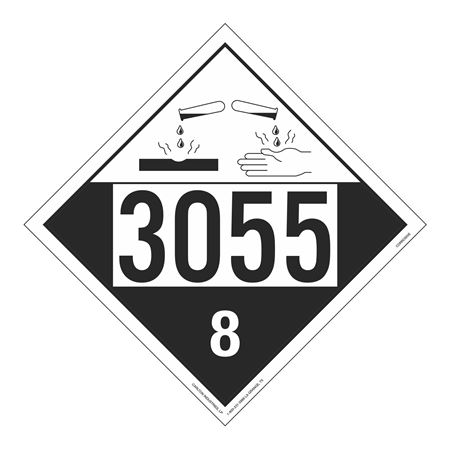 UN#3055 Corrosive Stock Numbered Placard