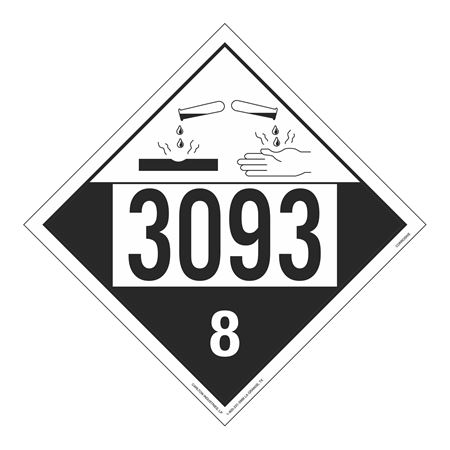 UN#3093 Corrosive Stock Numbered Placard