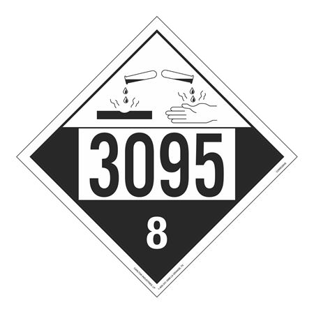 UN#3095 Corrosive Stock Numbered Placard