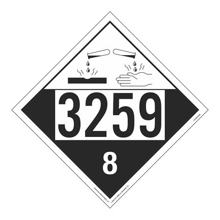UN#3259 Corrosive Stock Numbered Placard