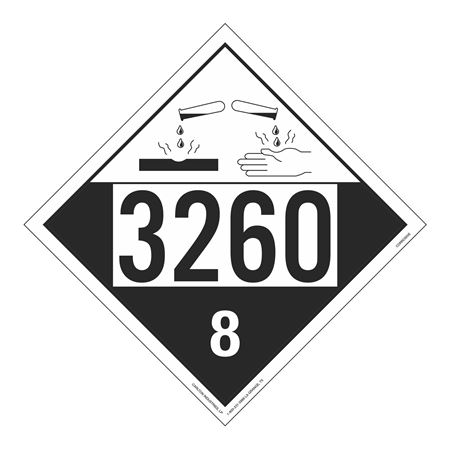 UN#3260 Corrosive Stock Numbered Placard